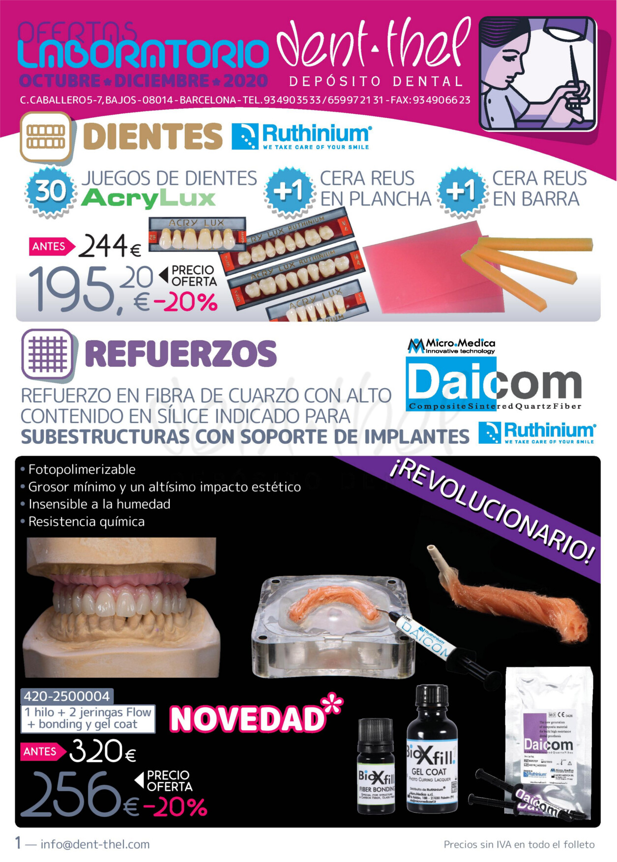 Ofertas Dent-thel para laboratorio